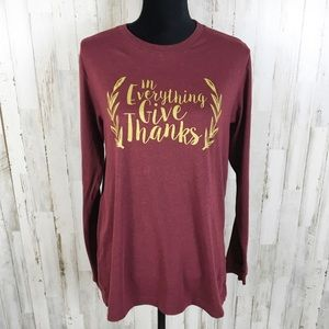 Thanksgiving Long Sleeve Boutique Top Shirt Gold L